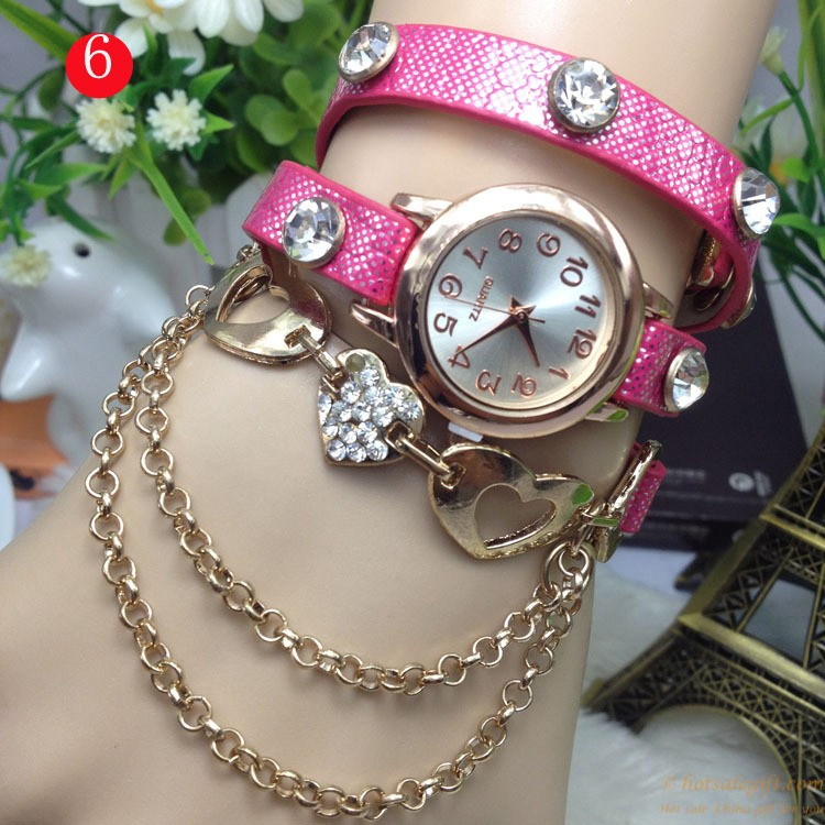 Beautiful hollow heart-shaped diamond bracelet watch for girls and ...