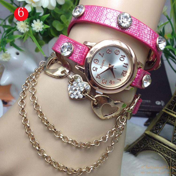 beautiful hollow heartshaped diamond bracelet watch for