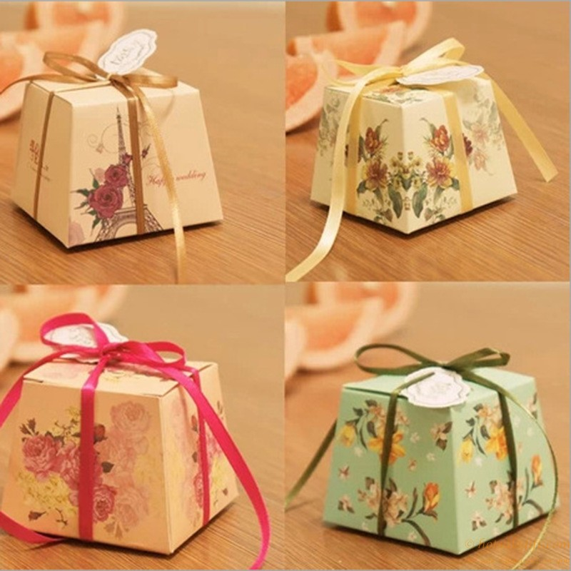 Creative Printing Flowers Paper Candy Box Wedding Favors Hot Sale Gift