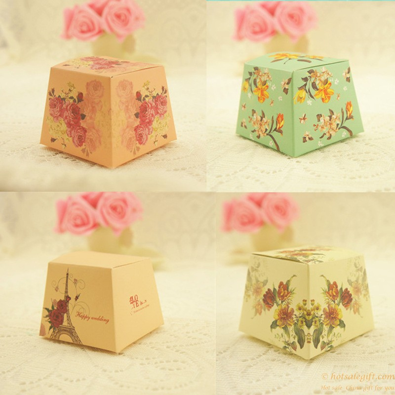 Creative Printing Flowers Paper Candy Box Wedding Favors